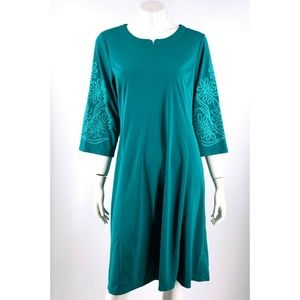 Bob Mackie Wearable Art A Line Dress Large Green